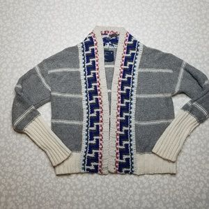 American Eagle Chunky Aztec Cardigan Sweater Gray